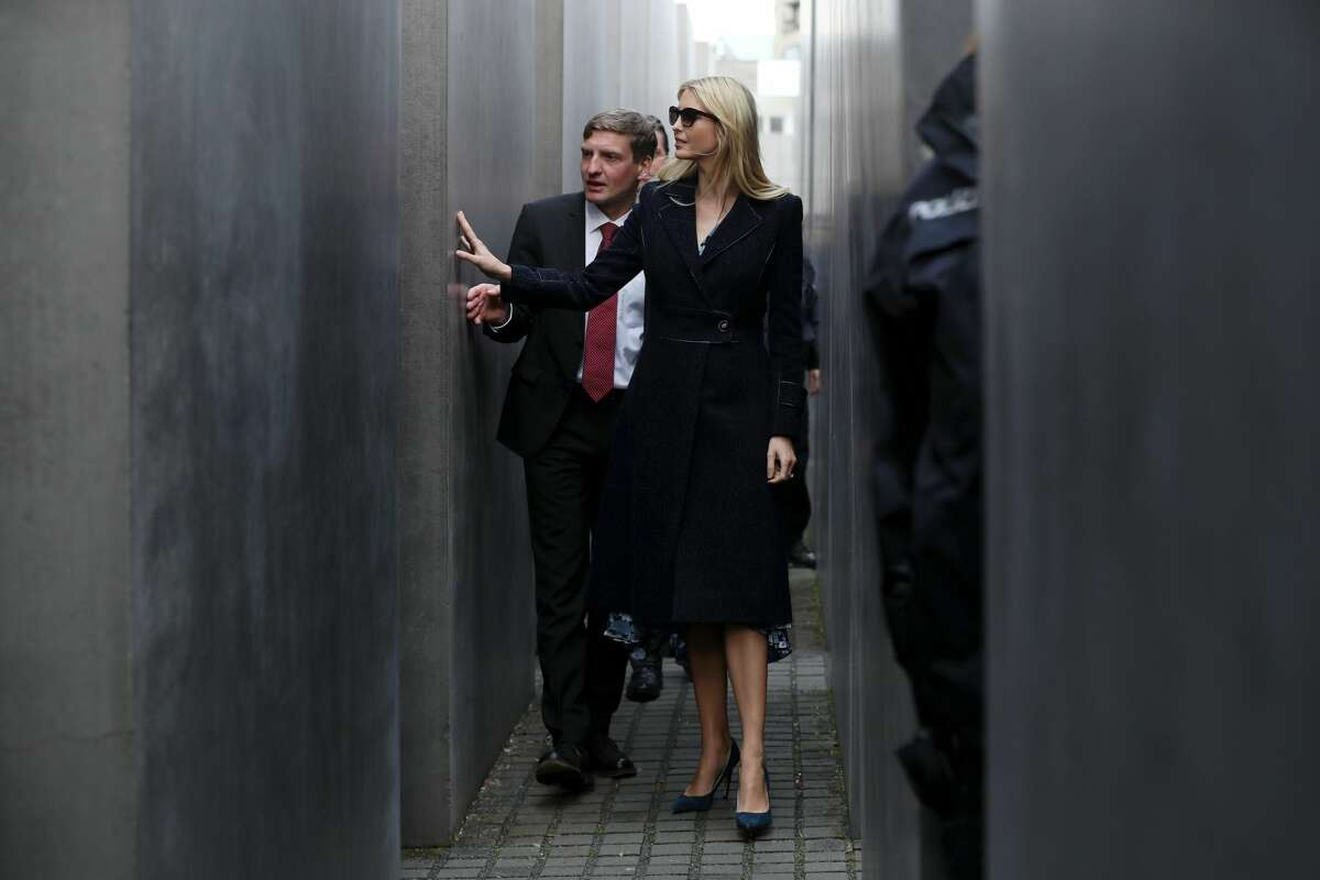 Ivanka Trump, daughter of U.S. President Donald Trump, and a guide of the memorial walk among stellae at the Memorial to the Murdered Jews of Europe, also called the Holocaust Memorial, on April 25, 2017.