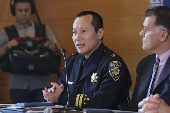 Capt. Alex Yao of the University of California Police, at a news conference in Berkeley, Calif., April 20, 2017. The school said it would permit the conservative author Ann Coulter to speak on campus in early May, just one day after it canceled an appearance scheduled for next week, citing security threats. (Jim Wilson/The New York Times)