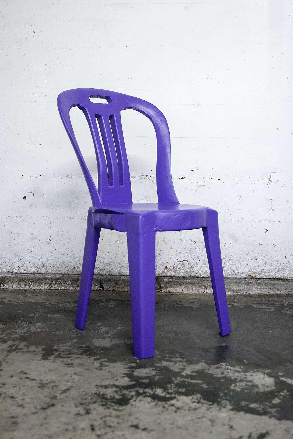"Cameron Platter, ""Purple chair I"" (2017), carved Jacaranda wood with acrylic paint"