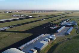 This aerial photograph highlights the recently completed improvements to the Plainview/Hale County Airport, including rehabilitated runways, aprons and taxiways, new markings and new runway lighting. The airport was honored by TxDOT Aviation as the 2017 Most Improvement General Aviation Airport in Texas.