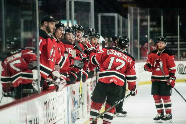 Albany Devils celebrate after a successful goal during the game against the Toronto Marlies Thursday April 20th, 2017 at the Times Union Center. Photo by Eric Jenks
