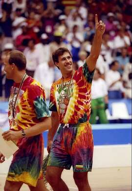 "Sarunas Marciulionis wears the bronze medal at the 1992 Barcelona Olympics, in Lithuania's Grateful Dead warmup T-shirts, in the documentary ""The Other Dream Team."""