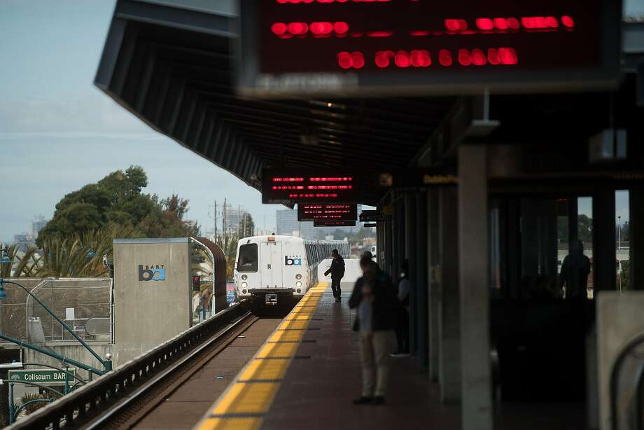 A train approaches the Coliseum BART station on Tuesday, April 25, 2017, in Oakland, Calif. Photo: Noah Berger, Special To The Chronicle
