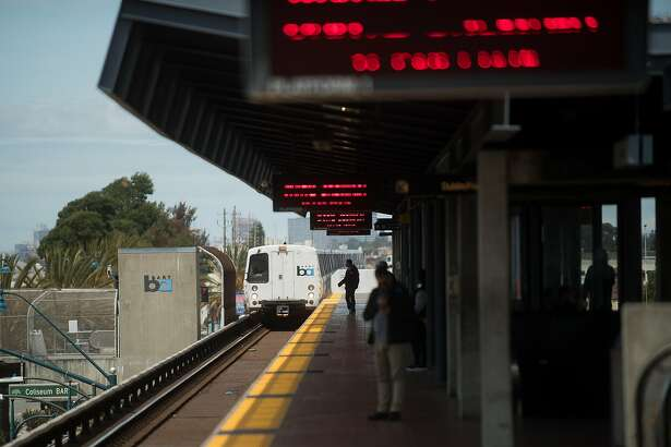 A train approaches the Coliseum BART station on Tuesday, April 25, 2017, in Oakland, Calif.