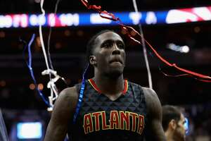 WASHINGTON, DC - APRIL 19: Taurean Prince #12 of the Atlanta Hawks walks off the floor after the Hawks lost 109-101 to the Washington Wizards in Game Two of the Eastern Conference Quarterfinals during the 2017 NBA Playoffs at Verizon Center on April 19, 2017 in Washington, DC. NOTE TO USER: User expressly acknowledges and agrees that, by downloading and or using this photograph, User is consenting to the terms and conditions of the Getty Images License Agreement.  (Photo by Rob Carr/Getty Images)
