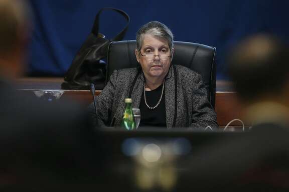 UC President Janet Napolitano listens as CFO Nathan Brostrom and budget analyst David Alcocer detail a proposed student tuition hike before the Board of Regents approved the plan during a meeting at the UCSF Mission Bay campus in San Francisco, Calif. on Thursday, Jan. 26, 2017.