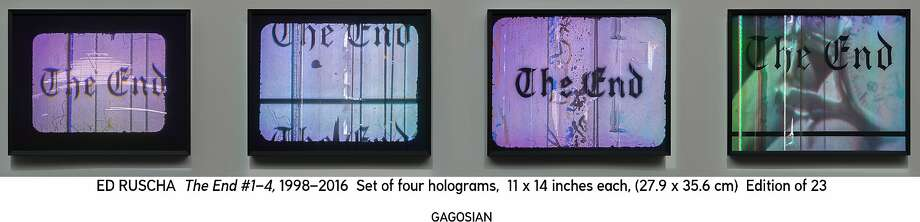 "Ed Ruscha, ""The End"" (1998-2016), set of four holograms. Photo: Gagosian"