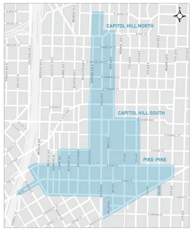 Seattle's Department of Transportation is planning to extend the hours for paid parking on Capitol Hill starting in the fall. This map shows where that would take effect. Paid parking would no longer end at 8 p.m. but extend until 11 p.m. Photo: Courtesy SDOT