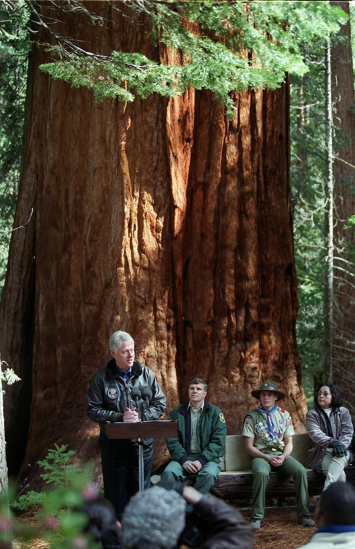 President Clinton addresses a small crowd near the Trail of 100 Giants in Sequoia National Forest, April 15, 2000. (AP Photo/Bakersfield Californian, Henry A. Barrios, File)