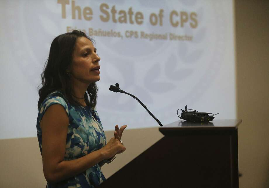 "Erica Banuelos, regional director of Child Protective Services, speaks April 25 during the ""State of Our Children"" Summit held at the United Way on South Alamo Street. Photo: John Davenport /San Antonio Express-News / ©San Antonio Express-News/John Davenport"