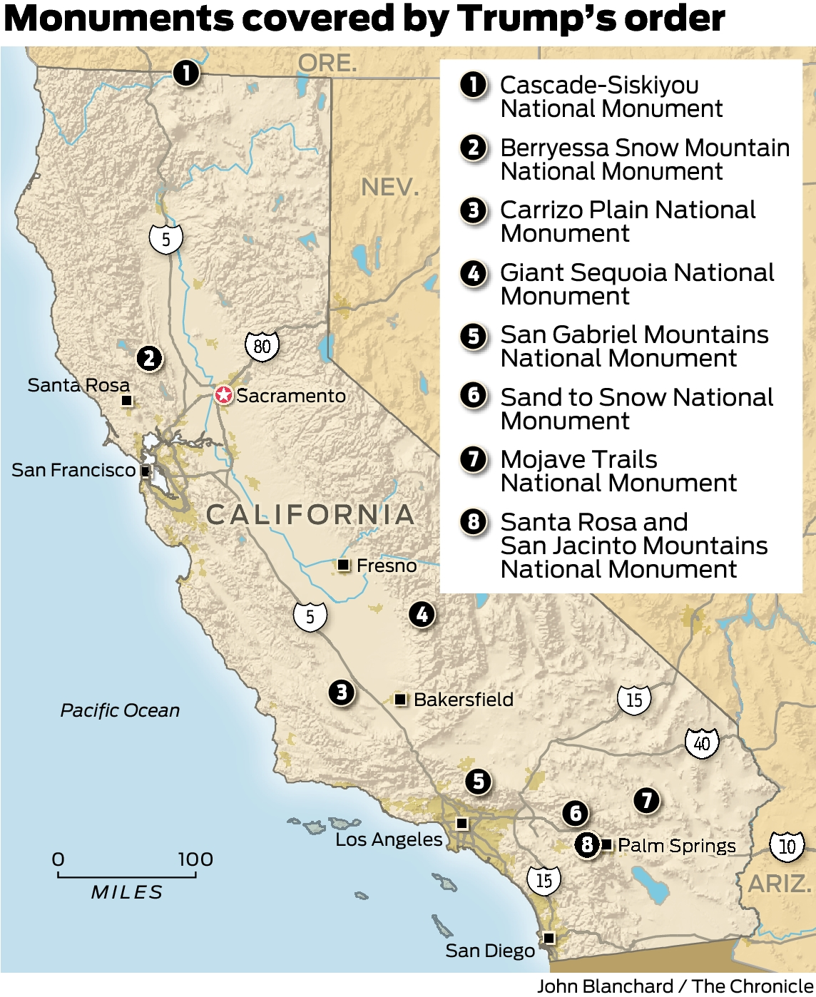 National monuments under siege by Trump include 8 in California ...