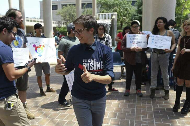 """Rae Martinez addresses people gathered for the Texas Students Against Hate rally at the University of Texas at San Antonio main campus, Tuesday, April 25, 2017. The Texas Freedom Network's young adult group, called Texas Rising, has partnered with several state and national nonprofits to start a petition and host rallies that protest bills like SB6 and HB2899, both known as the """"bathroom bill."""" Rallies were held at university campuses throughout the state."""