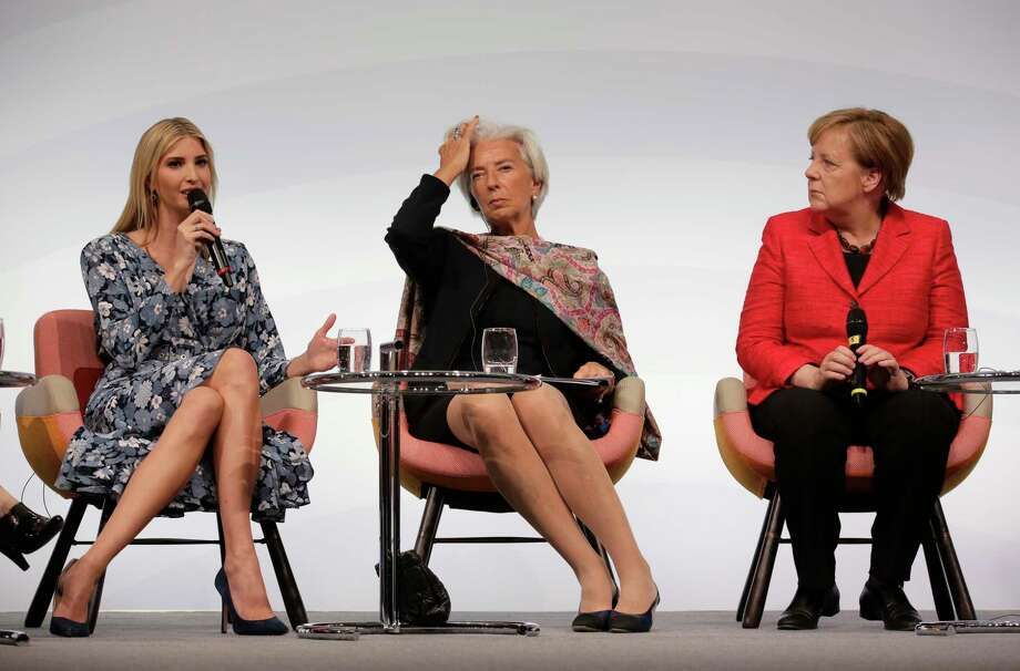 Ivanka Trump, daughter and adviser of U.S. President Donald Trump, International Monetary Fund Managing Director Christine Lagarde and German Chancellor Angela Merkel, from left, attend a panel at the W20 Summit in Berlin Tuesday, April 25, 2017. The conference aims at building support for investment in women's economic empowerment programs. (AP Photo/Markus Schreiber) Photo: Markus Schreiber, STF / Copyright 2017 The Associated Press. All rights reserved.