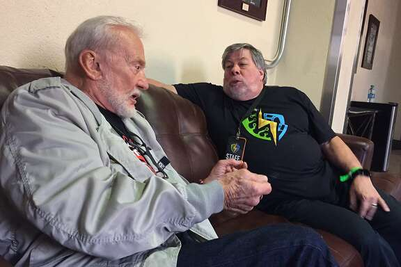 April 21, 2017: Buzz Aldrin and Steve Wozniak have a conversation back stage at the City National City arena at the Silicon Valley Comic Con.