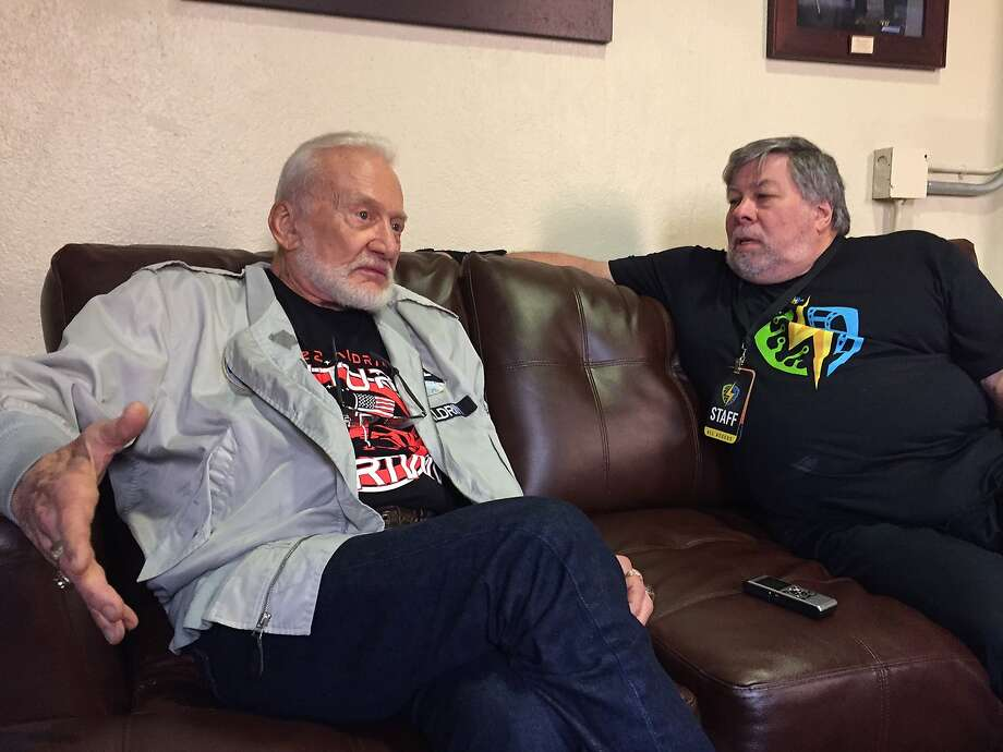 April 21, 2017: Buzz Aldrin and Steve Wozniak have a conversation back stage at the City National City arena at the Silicon Valley Comic Con. Photo: Peter Hartlaub, The Chronicle