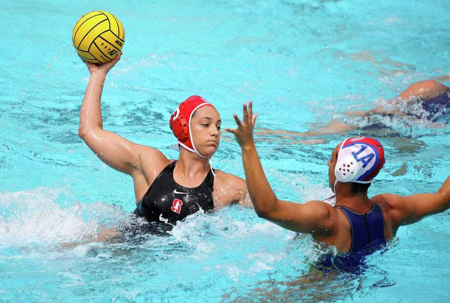 STANFORD, CA; April 22, 2017; Maggie Steffens of Women's Water Polo, Stanford vs San Jose State. Photo: Hector Garcia-Molina / Hector Garcia-Molina / Stanford Athletics / Stanford Athletics
