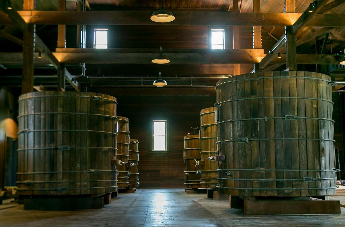 Old fermentation tanks at Trefethen Winery in Napa, Calif., are seen on April 25th, 2017.