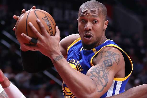 Golden State Warriors' David West against Portland Trail Blazers in Game 4 of NBA Western Conference 1st Round Playoffs at Moda Center in Portland, Oregon on Monday, April 24, 2017.