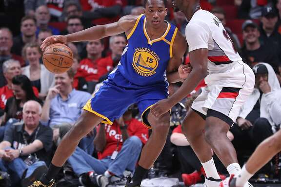 Golden State Warriors' Damian Jones against Portland Trail Blazers in Game 4 of NBA Western Conference 1st Round Playoffs at Moda Center in Portland, Oregon on Monday, April 24, 2017.