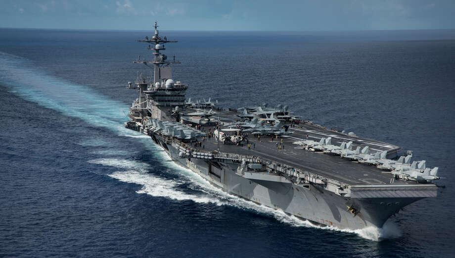 The USS Carl Vinson transits the Philippine Sea on April 23. Photo: Mass Communication Specialist 2nd Class Z.A. Landers, HOGP / U.S. Navy
