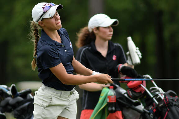 Tompkins freshman medalist Elina Sinz follows her drive on the par 4 6th hole during the Region III-6A Girls Golf Championships at Eagle Pointe Golf Club in Mont Belvieu on Tuesday, April 25, 2017. (Photo by Jerry Baker/Freelance)