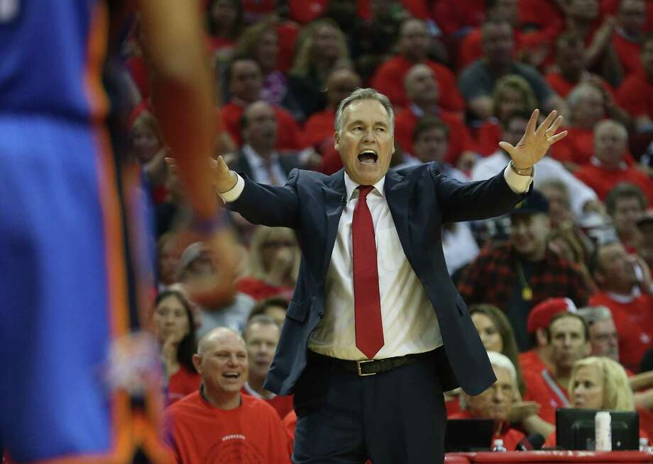Houston Rockets head coach Mike D'Antoni reacts in the first half of Game 5 of a Western Conference quarterfinals of the 2017 NBA playoffs, April 24, 2017, in Houston. Photo: Karen Warren, Houston Chronicle / 2017 Houston Chronicle