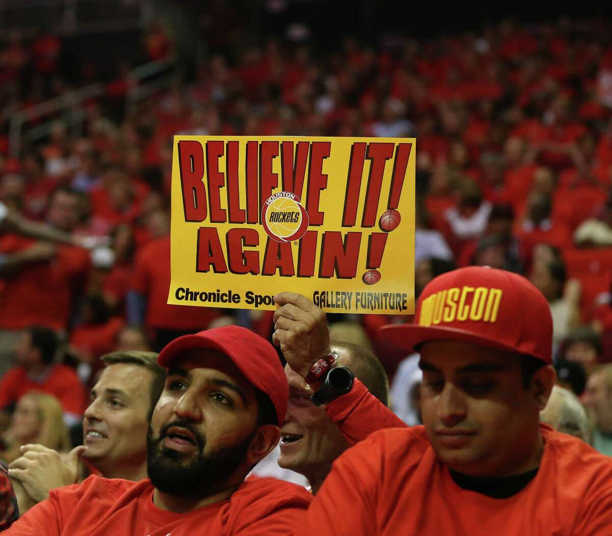 Houston Rockets fans in the first half of Game 5 of a Western Conference quarterfinals of the 2017 NBA playoffs, April 24, 2017, in Houston.