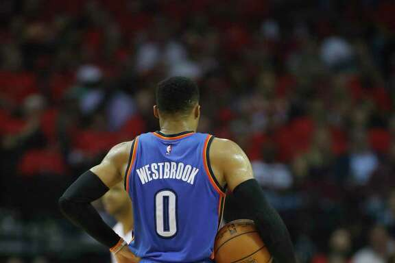 Oklahoma City Thunder guard Russell Westbrook (0) in the first half of Game 5 of a Western Conference quarterfinals of the 2017 NBA playoffs, April 24, 2017, in Houston.
