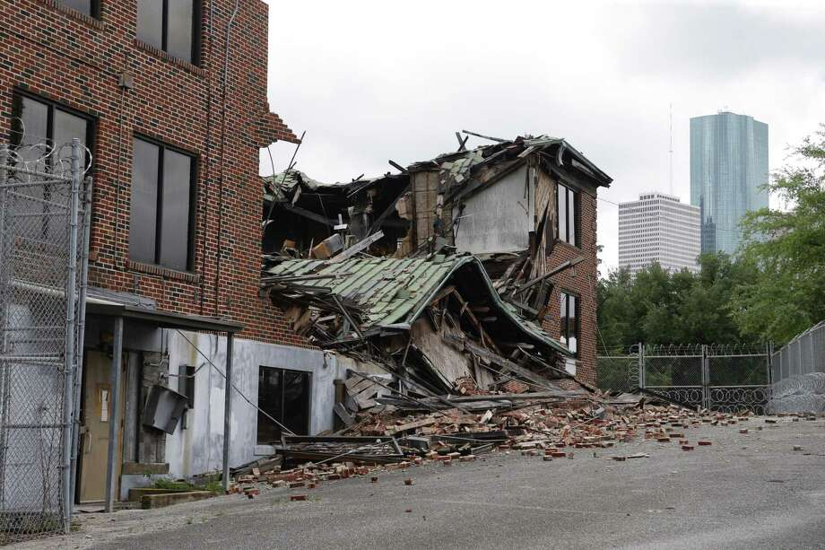 The nurses' dorm next to the old Jefferson Davis Hospital seemed to be on its path for historical recognition - and with that, eligibility for restoration funds - but high winds and rain forced its roof to collapse, ending those hopes. Photo: Melissa Phillip, Staff / Houston Chronicle 2017