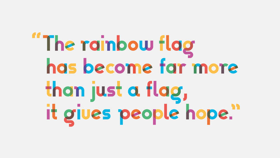 "Type with Pride designed a font, called ""Gilbert,"" to celebrate the life and contributions of Gilbert Baker, the creator of the iconic rainbow flag. Photo: Type With Pride"