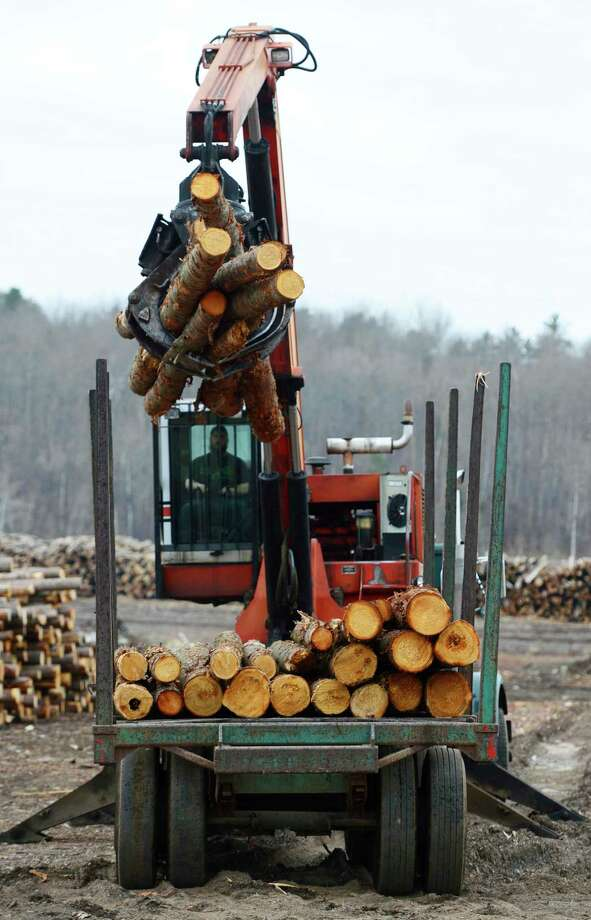 Softwood lumber is unloaded at the Murray Brothers Lumber Co. wood lot in Madawaska, Ontario. New U.S. tariffs are targeting the Canadian timber industry. Photo: Sean Kilpatrick, SUB / The Canadian Press