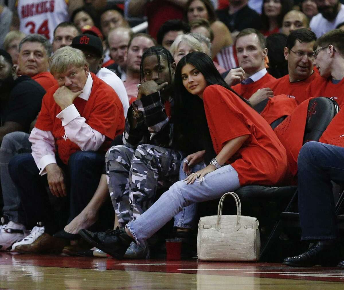 Keep going for a look back at the Rockets' series against the Spurs.  Houston rapper Travis Scott and Kylie Jenner watch courtside during Game Five of the Western Conference Quarterfinals game of the 2017 NBA Playoffs at Toyota Center on April 25, 2017 in Houston, Texas.