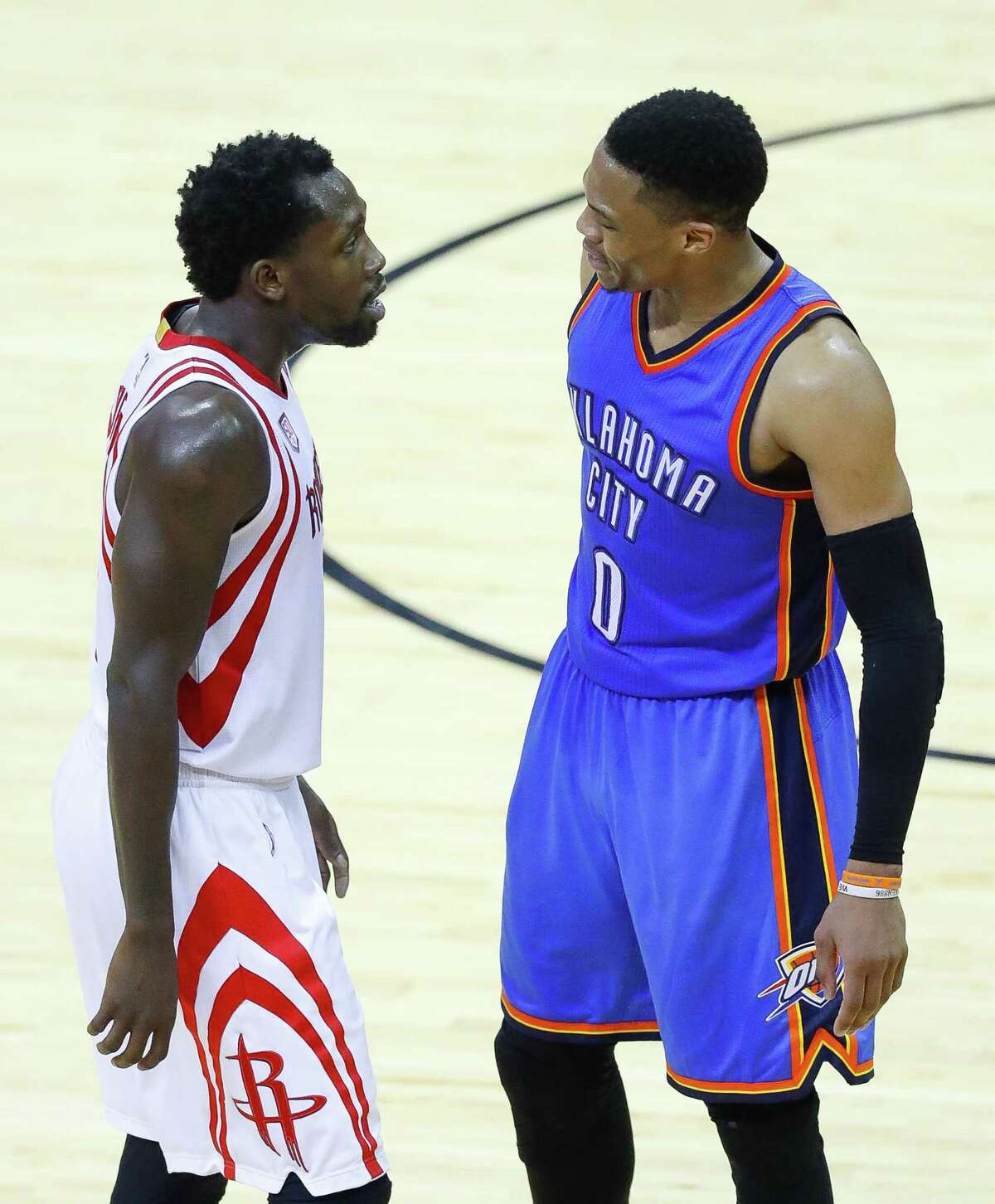 Houston Rockets guard Patrick Beverley (2) and Oklahoma City Thunder guard Russell Westbrook (0) have words that resulted in a double technical foul during the second half of Game 5 of a Western Conference quarterfinals of the 2017 NBA playoffs, Tuesday, April 24, 2017, at Toyota Center in Houston.