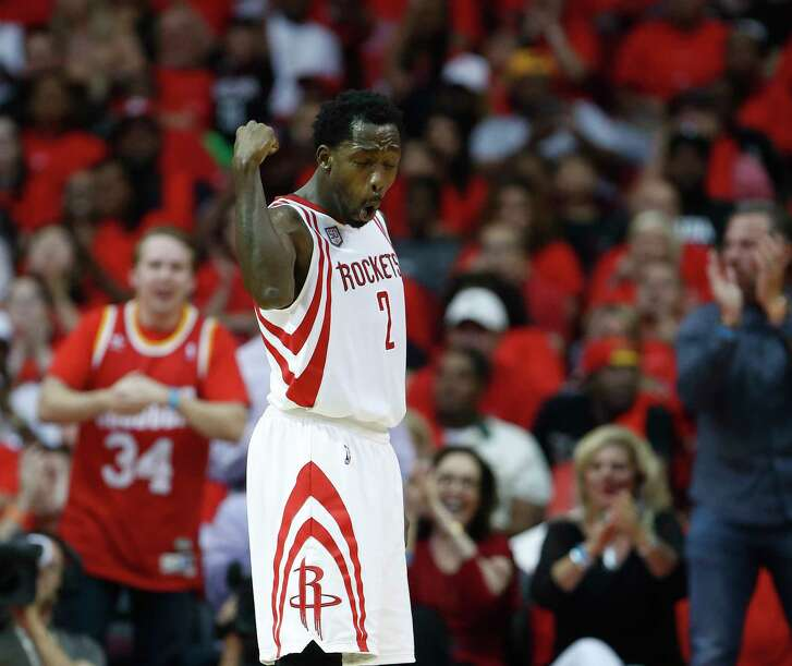 Houston Rockets guard Patrick Beverley (2) reacts after his basket in the second half of Game 5 of a Western Conference quarterfinals of the 2017 NBA playoffs, April 24, 2017, in Houston.