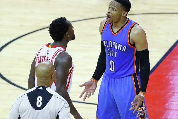 Houston Rockets guard Patrick Beverley (2) and Oklahoma City Thunder guard Russell Westbrook (0) have words that resulted in a double technical foul during the second half of Game 5 of a Western Conference quarterfinals of the 2017 NBA playoffs, Tuesday, April 24, 2017, at Toyota Center in Houston. (Mark Mulligan / Houston Chronicle)
