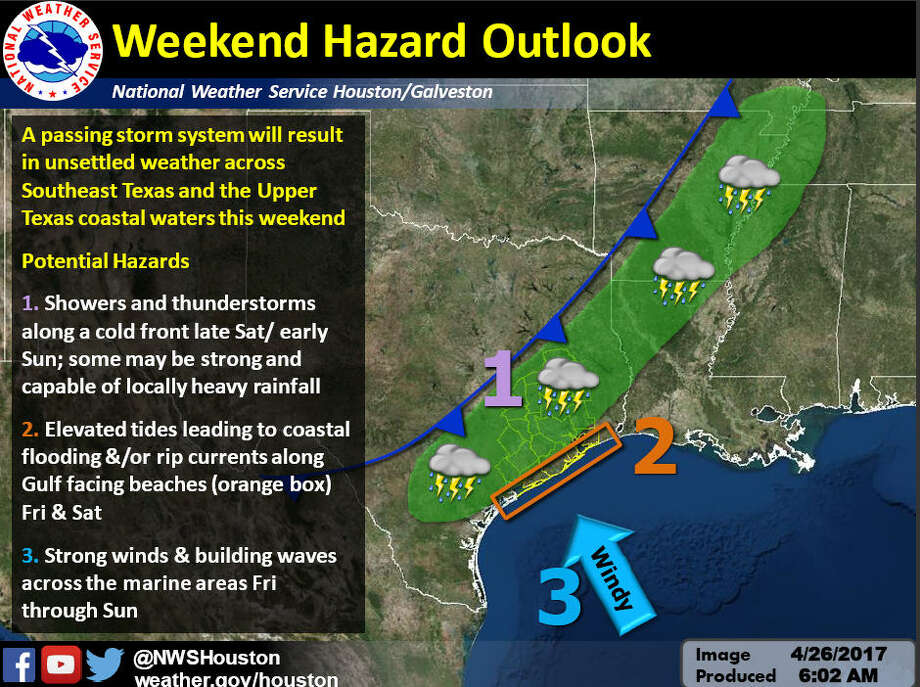 A passing storm system could bring locally heavy rainfall along a cold front this weekend, April 29-30, 2017, with elevated tides leading to coastal flooding or rip currents along the Gulf, according to the National Weather Service.