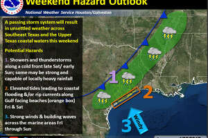 A passing storm system could bring locally heavy rainfall along a cold front this weekend, with elevated tides leading to coastal flooding or rip currents along the Gulf, according to the National Weather Service.