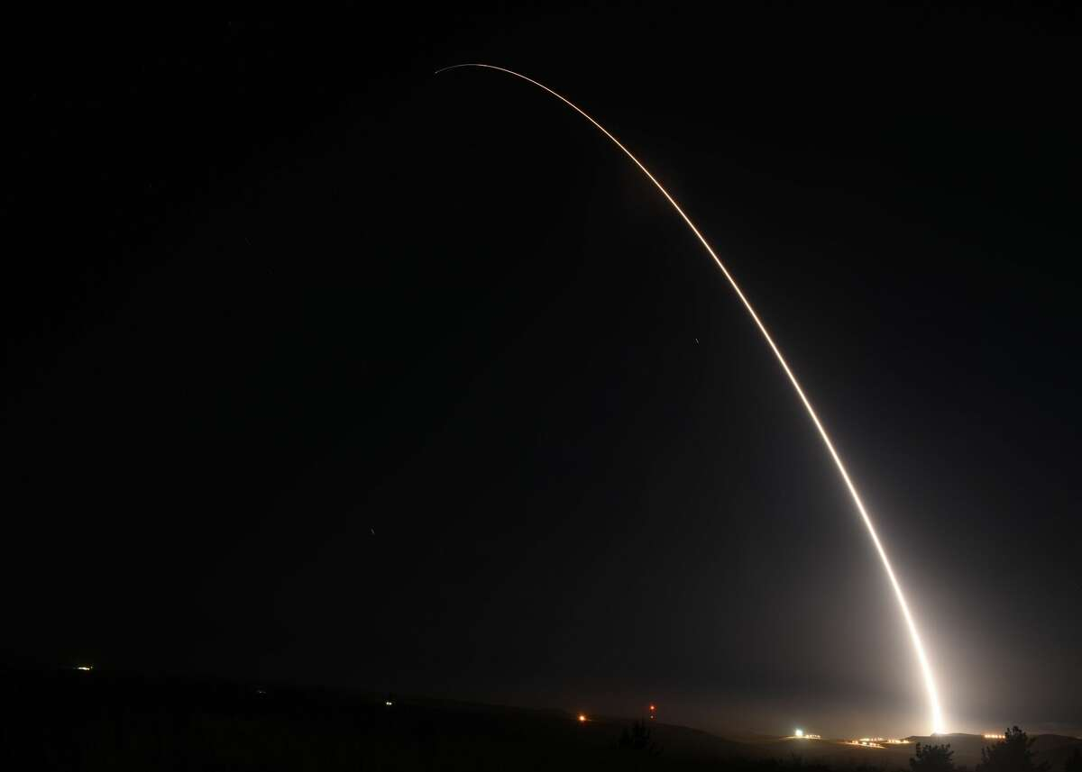An unarmed Minuteman III intercontinental ballistic missile launches during an operational test at 12:03 a.m., PDT, April 26, from Vandenberg Air Force Base, Calif. The Minuteman system has been in service for 60 years. Through continuous upgrades, including new production versions, improved targeting systems, and enhanced accuracy, today's Minuteman system remains state-of-the art and is capable of meeting all modern challenges.