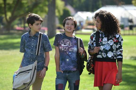 "joshua Rush, Peyton Elizabeth Lee and Sofia Wylie in ""Andi Mack,"" a compelling story of self-discovery written by Terri Minsky, the creator of Disney Channel's hit series ""Lizzie McGuire."""