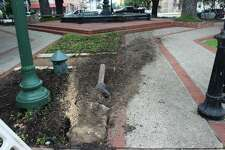 Main Plaza in downtown New Braunfels sustained damage after an alleged drunk driver tore through the circle just after midnight on April 25, 2016.