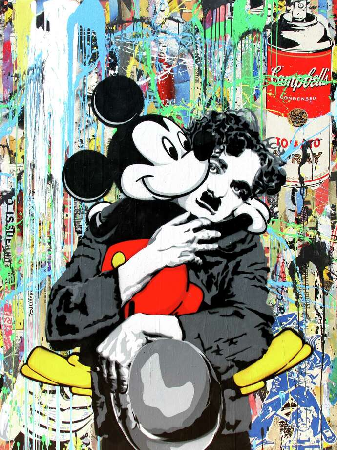 """Chaplin and Mickey"" is among the works by Mr. Brainwash on view at Art of the World Gallery beginning Friday. Photo: Courtesy Of The Artist"