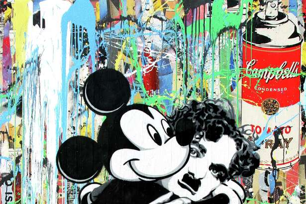 """Chaplin and Mickey"" is among the works by Mr. Brainwash on view at Art of the World Gallery beginning Friday."