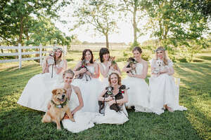 Models pose with their loving rescue dogs from various rescue groups around the Houston area.