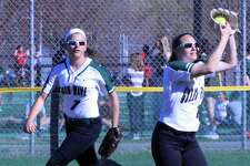 Lauren Borsavage makes a clean catch to get an out, with Katie Siegle on back up for the play.