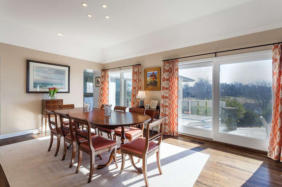 Almost every room in this seven-room, 4,088-square-foot house has views of Southport Harbor and Long Island Sound, including from the formal dining room, where there are French doors to the terraced patio.