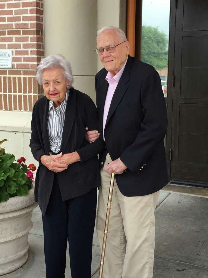 Dorothy and Ben Schleider have been happily married for 70 years. The two currently live at Belmont Village Senior Living in Hunter's Creek. The two celebrated their seventh decade together April 3 with other community members at the Village. Photo: Submitted Photo / Submitted Photo