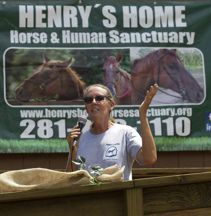 Donna Stedman, founder Henry's Home Horse and Human Sanctuary, speaks before a ribbon cutting ceremony at Grand Central Park off Interstate 45, Wednesday, April 19, 2017, in Conroe. Members of Leadership Montgomery County provided a trailer and built an arena in addition to giving 5,000 in cash donations to the non-profit.