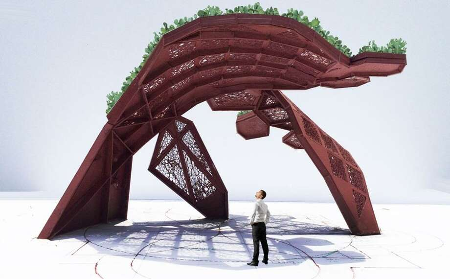 "A rendering of ""CoCobijos,"" an installation designed by Houston native Mel Chin for the Mission San José Portal, shows live cactus growing along the outer edge of the piece. Photo: Courtesy San Antonio River Foundation"