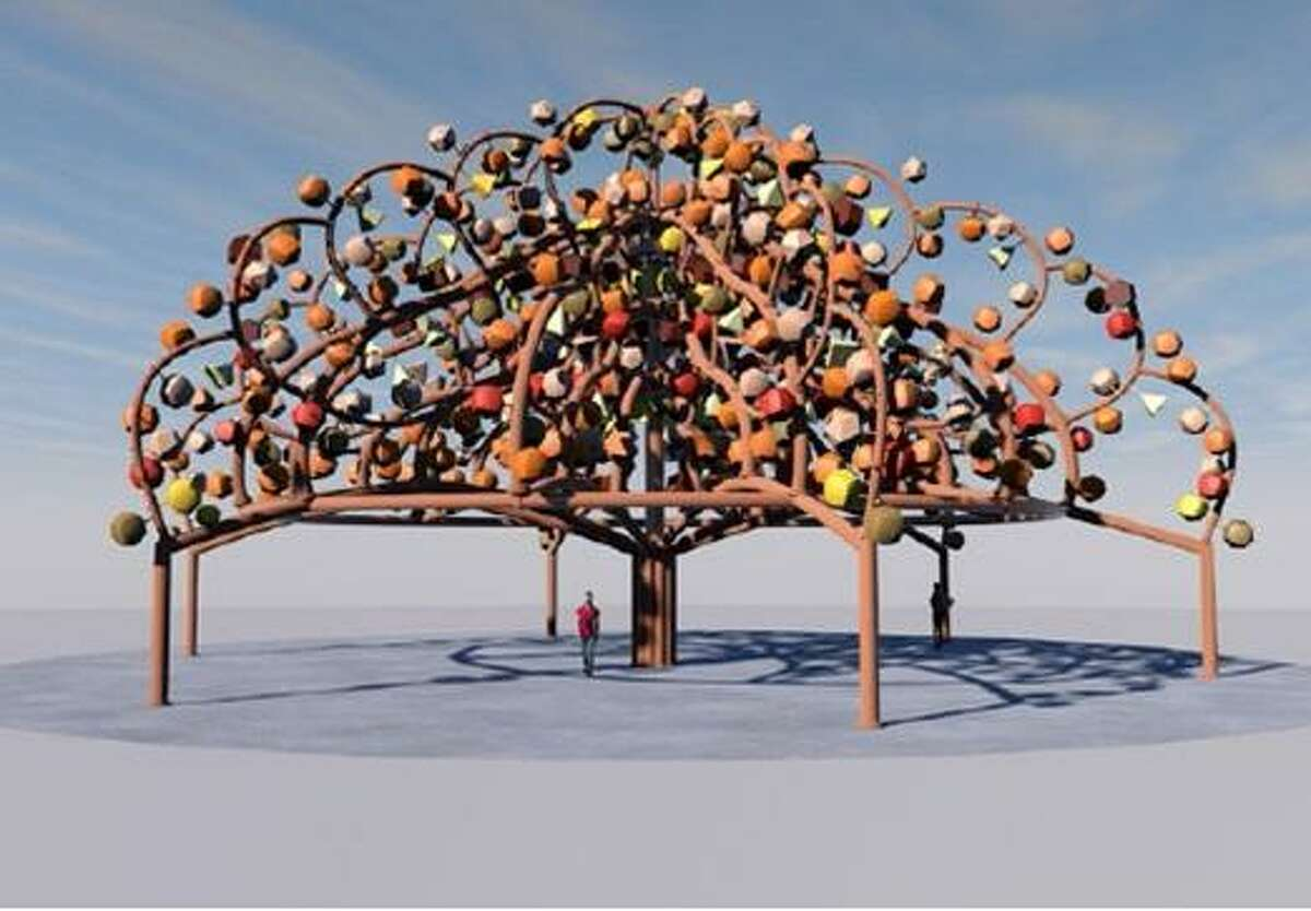 Artist Margarita Cabrera's rendering of her Tree of Life design for the Mission Espada Portal shows clay sculptures affixed to the limbs of the structure.