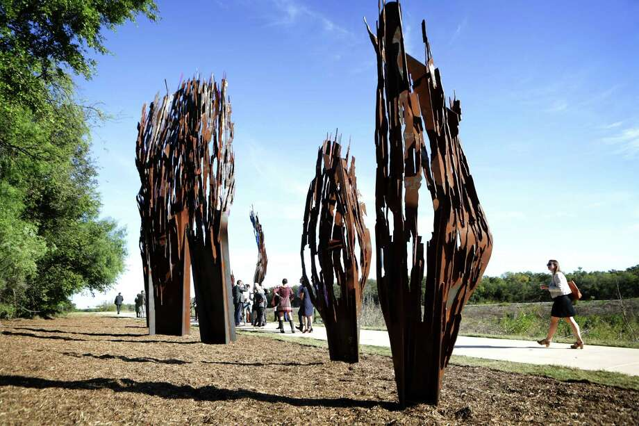 """""""Whisper"""" by renowned Belgian artist Arne Quinze was completed in 2015. The piece, Quinze's first in the U.S., serves as a portal between the river and Mission San Juan Capistrano. Photo: Express-News File Photo / San Antonio Express-News"""